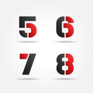 red 5678 3d stencil numbers