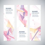 Vector vertical banners set with polygonal shapes circles lines triangles N2