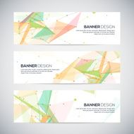 Vector banners set with polygonal abstract shapes circles lines triangles N2