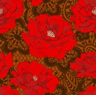 Red Rose Brown Lace Seamless Pattern