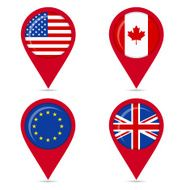 Map pin icons of Anglo Saxon countries and europe