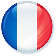 French Flag Super Glossy Button
