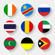 Flags of the world round buttons N2