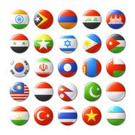 World flags round badges magnets Asia