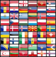 Elements of design icons flags the countries Europe