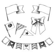 Hand drawn vector illustration - set of flags and ribbons N2