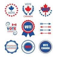Red and blue Vote Canada emblems design elements set