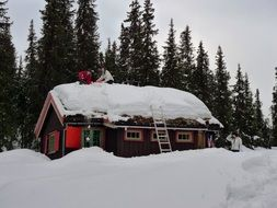 Cottage roof covered with snow