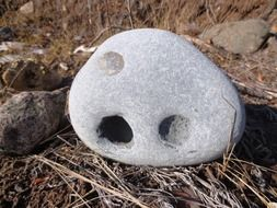 holes in a rock stone