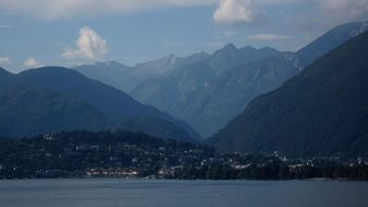 distant view of the lakeside town of ascona in switzerland