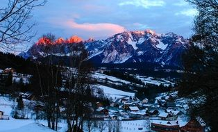 Sunrise over the winter Alps