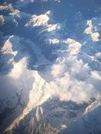 aerial view of the snow-capped peaks