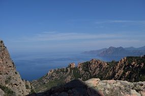 Wonderful view sea cliff island corsica