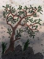 tree on rainy weather, digital art