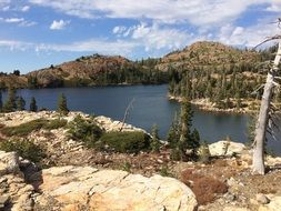 panorama of a lake in the sierra nevada