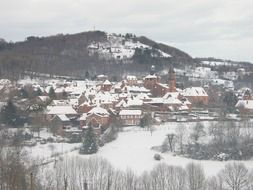 winter village in snow panorama