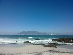 table mountain view from beach, south africa, cape town