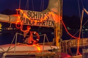 Skeleton on boat night view
