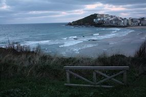 Panorama of the evening beach in Galicia, Spain