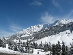 panorama of the winter alps