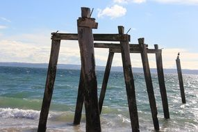 wooden beams on beach, remains of pier