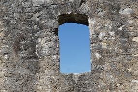 window in ruin castle stone wall