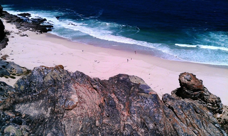 view from the cliffs on the Diaz beach in South Africa