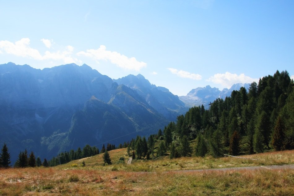 distant view of the dolomites in trentino