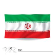 Flag of Iran above map
