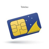 mobile phone sim card with flag of Tokelau