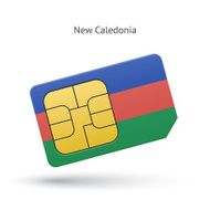 New Caledonia mobile phone sim card with flag
