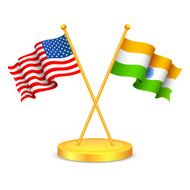 India-America relationship, crossed flags, icon