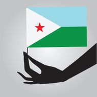 Hand with flag Djibouti