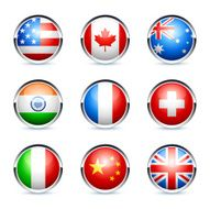 set of glossy round icons, Flags