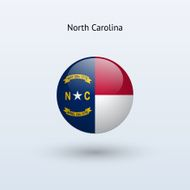 Flag of North Carolina State, round icon with shadow