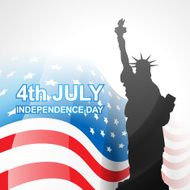 independence day, greeting, vector drawing with american flag