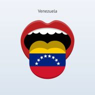 Abstract human mouth with stick out tongue in colors of Venezuela flag