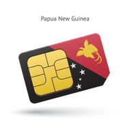 Papua New Guinea mobile phone sim card with flag