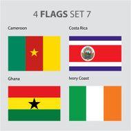 Cameroon Costa Rica Ghana Ivory Coast Flags (Vector ARt)