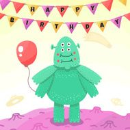 Birthday party funny space greeting card with cartoon alien (monster)