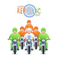 happy Republic Day, greeting with with bike riders in colors of Indian flag