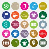 Soccer icons set circle vector illustration N2