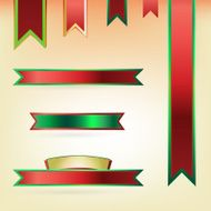 set of red and green glossy banners