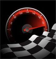 Chequered flag and speedometer N3