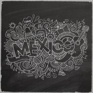 Mexico Vector hand lettering and doodles elements