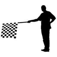 Man waving at the finish of black white checkered flag