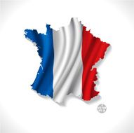 France map with waving flag isolated white background vector illustration