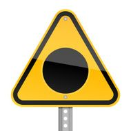 Black hole pictogram warning triangle yellow road sign white background