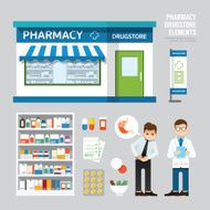 Vector pharmacy drugstore set design shop store package t-shi