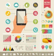 mobile phone with icons - infographic and website background N4